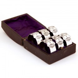 Late Victorian Set of Six Silver Plated Belt and Buckle Style Napkin Rings (c.1890)
