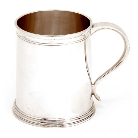 Edwardian Silver Childs Cup or Mug with a Plain Cylindrical Tapering Body
