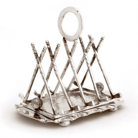 Late Victorian Silver Plated Golf Themed Toast Rack (c.1900)