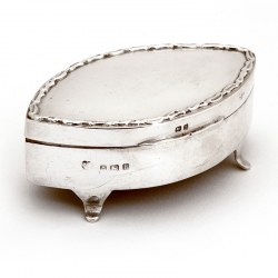 Edwardian Oval Silver Jewellery Box with a Hinged Lid and Applied Cast Decorative Border