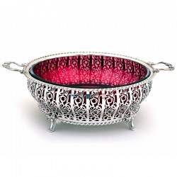 Mappin & Webb Silver Bowl with Gadroon Border and Cranberry Glass Liner