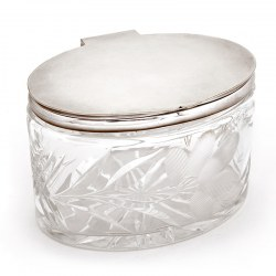 Oval Glass and Silver Plated Box with a Plain Lid and Cut Glass Design of Leaves and an Engraved Flower