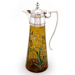 Victorian Silver Plated Green Glass Claret Jug with Enamel Scenes of Flowers and Butterflies