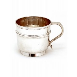 Plain Silver Childs Mug with Applied Mid Band and Scroll Handle