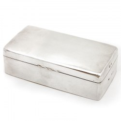 Victorian Plain Silver Cigarette or Cigar Box with Rounded Corners and Cedar Wood Lining