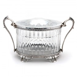 Decorative Oval Victorian Silver Plated Biscuit Box with Cut Glass Body Hinged Lid and Hinged Handles