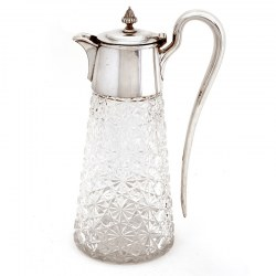 Silver Plated Claret Jug with a Plain Mount Circular Hinged Lid and Fluted Shaped Finial