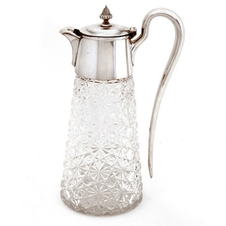 Victorian Silver Plated Claret Jug with Plain Mount and Circular Hinged Lid