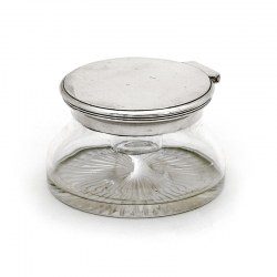Plain Mounted Edwardian Circular Ink Pot with a Plain Hinged Lid and a Shaped Clear Glass Body