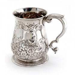 George II Silver Christening Mug with a Chased Floral and Scroll Baluster Form Body
