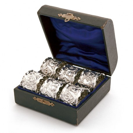 Set of Six Edwardian Silver Napkin Rings Fitted in a Blue Silk and Velvet Lined Box