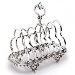Victorian Silver Plated Seven Shaped Hoop Section Toast Rack with a Cast Scroll Handle