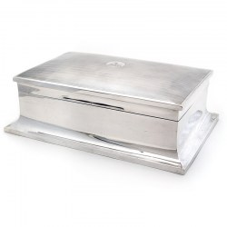 Silver Cedar Wood Lined Table Cigar Box with a Plain Body Curved Sloping Base and Domed Lid