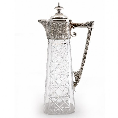Unusual Shape Victorian Silver Plated Claret Jug with a Square Shaped Cut Glass Body