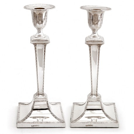 Pair of Silver Candle Sticks Decorated with Fine Garlands to the Stems (1928)