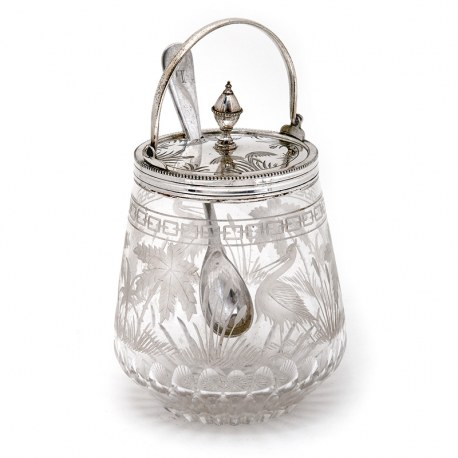 Victorian Silver Plated and Glass Jam Pot Hand Engraved with Herons and Bull Rushes