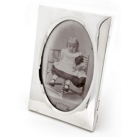 Plain Silver Antique Photo or Picture Frame with an Oval Shaped Window