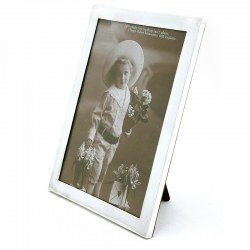 Plain Antique Silver Photo or Picture Frame with an Oak Easel Stand Back