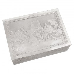 French Silver Plated Hinge Lidded Joyeuse Auberge Box with Scenes by Italian Artist Francesco Vinea