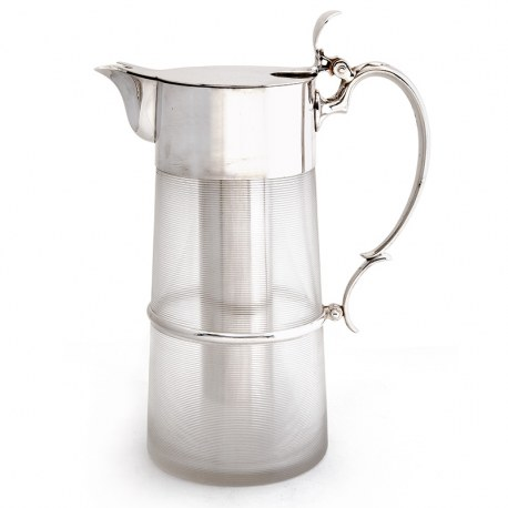 Victorian Silver Plated Lemonade or Pimms Jug with a Threaded Design Glass Body