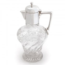 James Dixon Victorian Engraved Silver Plated Claret Jug with a Plain Mount and Domed Hinged Lid