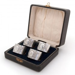 Boxed Set of Four Edwardian Numbered Silver Napkin Rings (1905)