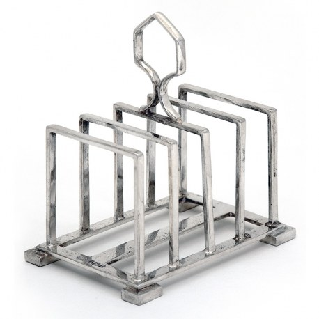 Silver Five Bar Toast Rack with Angular Divisions and Looped Central Handle