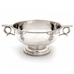 Silver Rose Bowl with a Plain Body with Applied Strapwork Decoration and Unusual Looped Handles
