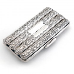 Quality Victorian Silver Four Section Cigar Case Engraved with Floral Leaves and Scrolls