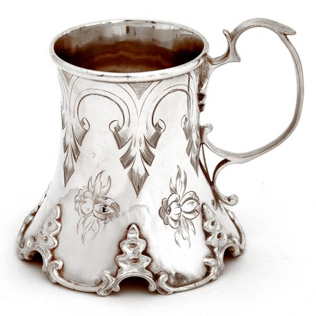 Victorian Silver Plated Christening Mug with a Concave Body and Engraved with Flowers