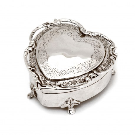 Edwardian Heart Shape Silver Jewellery Box with a Cast Applied Border and Blue Velvet Interior