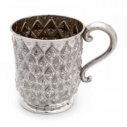Antique Silver Half Pint Christening Mug Hand Chased in a Pineapple Style