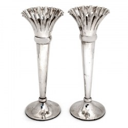 Good Quality Pair of Trumpet Shaped Silver Vases with fluted rims and Plain Bodies