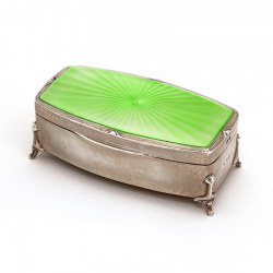 Enamel and Silver Gilt Jewellery Box with Pale Green Enameled Lid (1939)