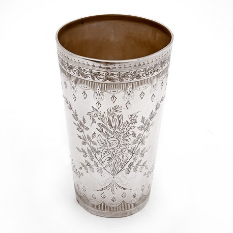 Over Sized Victorian Silver Beaker Engraved with Floral Scenes and an Empty Cartouche
