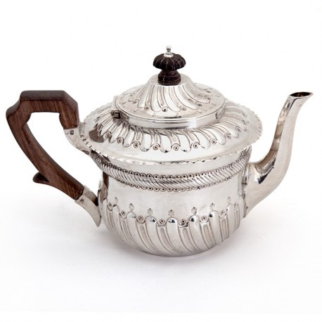 Victorian Silver Batchelor Tea Pot with a Wooden Handle Chased Fluted Body and Hinged Spiral Fluted Lid