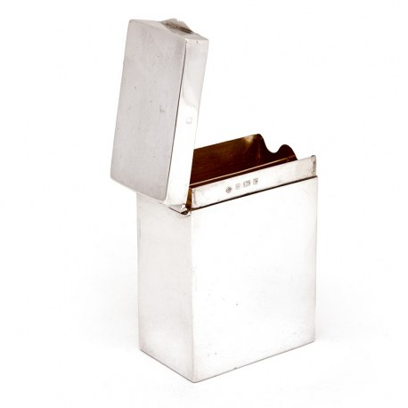 Late Victorian Silver Playing Card Box with a Plain Body Hinged Lid and Gilt Interior