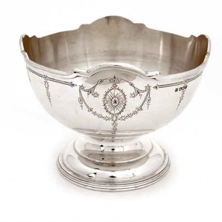 Silver Rose Bowl with Beautifully Engraved with Garlands and Floral Decoration