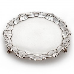George II Silver Salver with an Applied Shell and Scroll Border (1750)