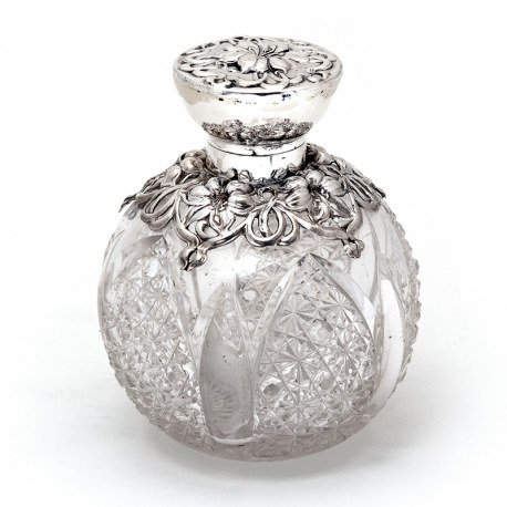 Edwardian Silver & Cut Glass Perfume Bottle in an Art Nouveau Style with Silver Floral Shoulders