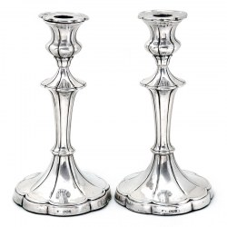 Attractive Pair of Silver Candlesticks with Plain Fluted Columns Leading Down to Fluted Circular Shaped Plain Bases