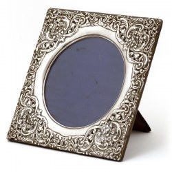 Decorative Square Edwardian Silver Picture Frame with a Border Decorated with Repousse Classical Faces