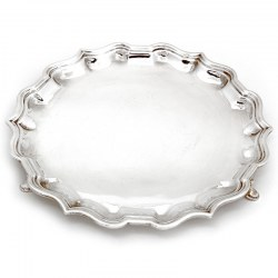 Elkington & Co Silver Salver with a Chippendale Style Border