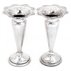 Pair Victorian Silver Trumpet Shaped Vases with Pierced Floral Petal Shaped Flared Rims