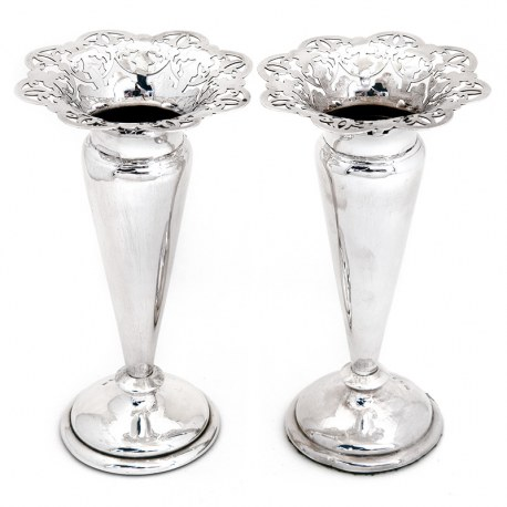 Antique Pair of Victorian Silver Vases with Pierced Floral Petal Shaped Flared Rims