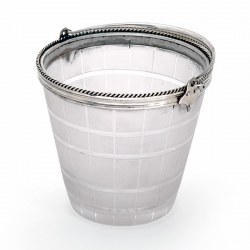 Victorian Silver Plate Ice Pail with a Cut and Frosted Barrel Shaped Glass Body