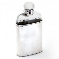 Silver Plated Mappin and Webb Hip Flask with a Plain Glass Body with Faceted Cut Shoulders