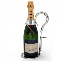 Silver Plate Champagne or Wine Bottle Holder with Extendable Handle on a Circular Beaded Base