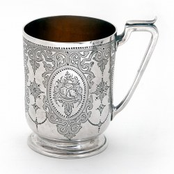 Antique Silver Childs or Christening Mug with Hand Engraved Cartouch and Floral Scenes