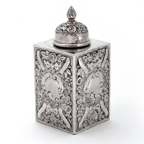 Edwardian Silver Tea Caddy with Four Sided Body Chased with Flowers and Scrolls